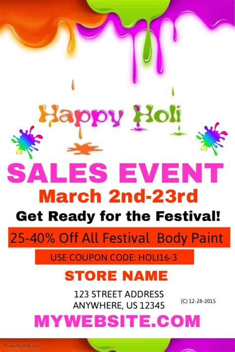 sle event flyer template holi sale event template postermywall