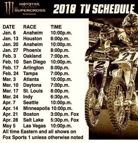 motocross racing tv schedule 2018 phoenix supercross the tv times for phoenix and the