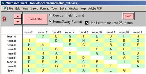 Round Robin Tournament Scheduling Court Balanced Round Robin 8 Team Schedule Template Excel