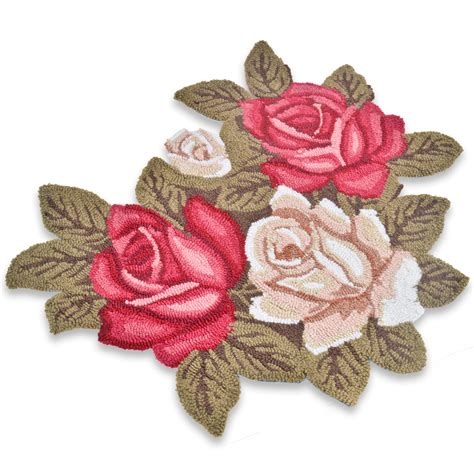 pink flower shaped rug shaped rug pink green floral hearth mat ebay