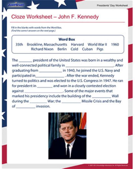 john f kennedy biography 3rd grade 100 free cloze worksheets 4th grade envision math