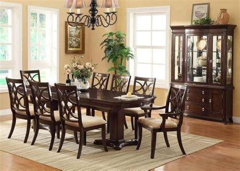 Transitional Dining Room Sets | crown mark 7 pc katherine transitional dining room set in dark cherry finish transitional