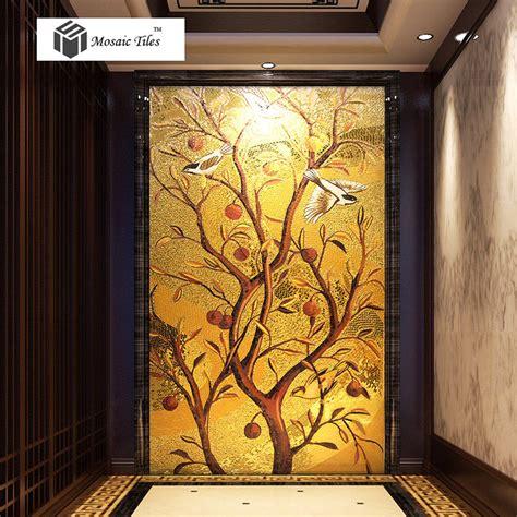 Handmade Wall Murals - handmade golden parquet mosaic murals tile lucky birds