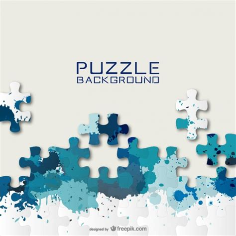 layout puzzle vector blue puzzle pieces and paint splashes background vector