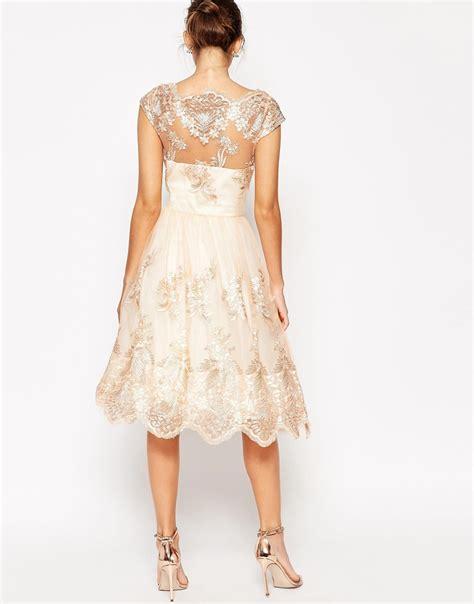 Dress Midi Kalung Premium chi chi premium lace midi prom dress with bardot neck in lyst