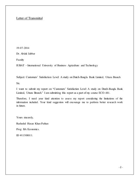 Customer Letter Of Satisfaction Template A Study On The Customer Satisfaction Level Of Bank