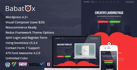Babatox Responsive Landing Page Wordpress Theme By Woocommerce Landing Page Template