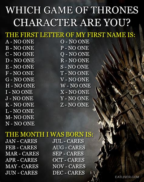 what character are you which of thrones character are you broadsheet ie