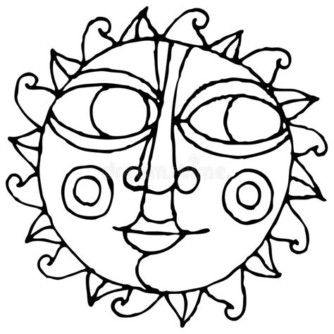 Easy Black And White Drawings by Big Eye Sun Simple Drawing Black And White Stock