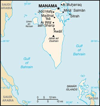 bahrain map with cities list of cities in bahrain