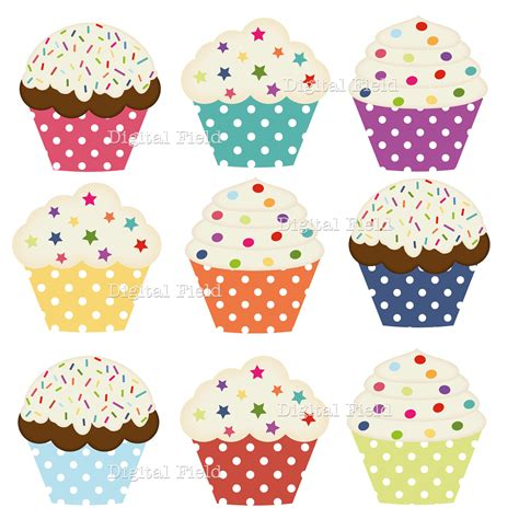 printable cupcake images polka dot cupcake clip art set colorful printable digital