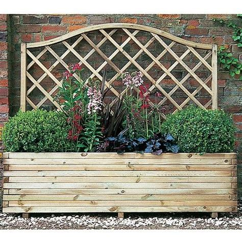 wooden planter with trellis gardening planters raised