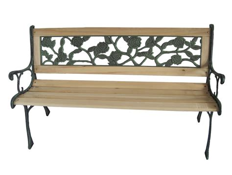 bench cast wooden slat garden bench seat cast iron legs rose style