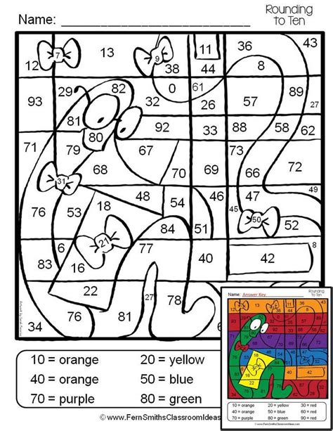 printable games for rounding numbers 3rd grade go math 1 2 color by numbers rounding to the