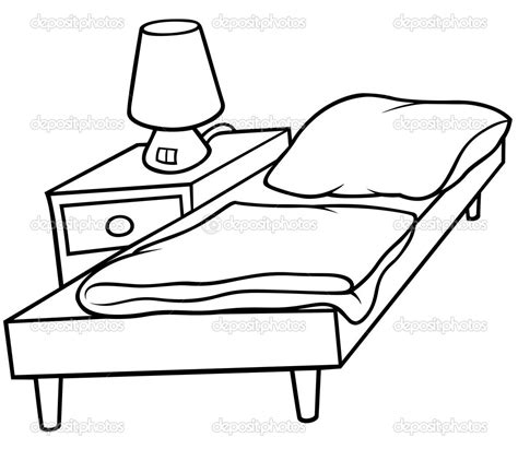 drawing of bed cartoon beds black and whitebed and bedside stock vector