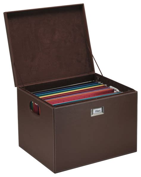 hanging file box brown leatherette transitional