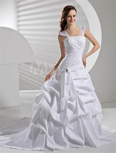 draped wedding dress ball gown lace satin draped wedding dress milanoo com