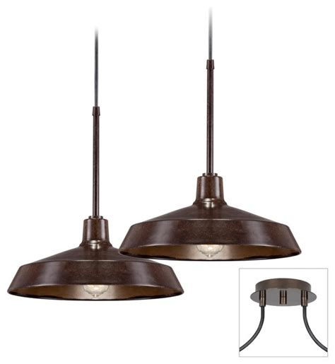 Industrial 2 Light Tiger Bronze Multi Light Pendant Farmhouse Style Pendant Lighting