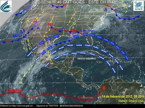weather map usa and mexico in a cold front is called a frente frio and is