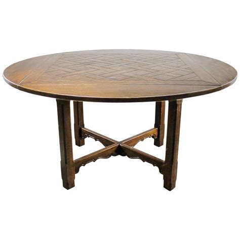 Square Table With Leaf by Drop Leaf Oak Square Pub Table W Parquet Top Distressed Style At 1stdibs