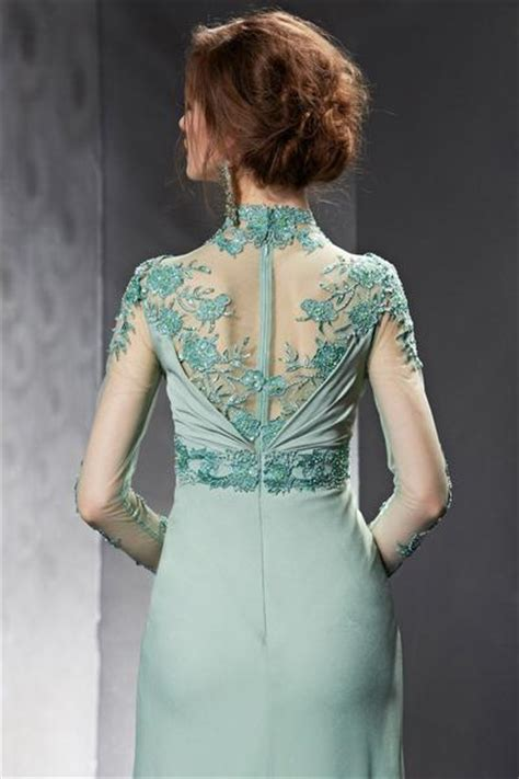Modest Sage Green  Ee  Lace Ee   Long Sleeves Formal Prom Evening