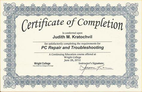 certificate of completion wording template update234 com