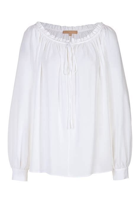 White Blouse white cotton peasant blouse with drape sleeve elizabeth