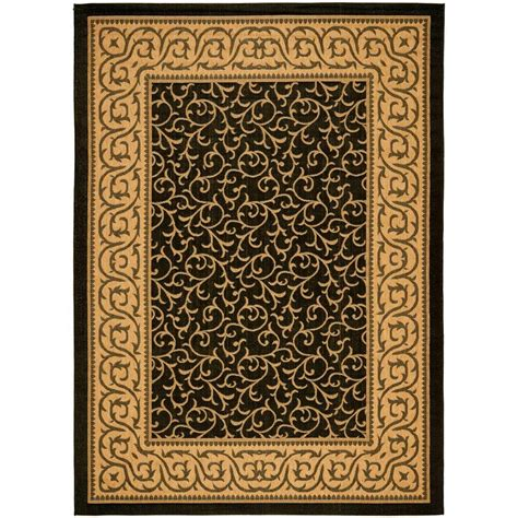 Safavieh Courtyard Black Natural 4 Ft X 5 Ft 7 In 4 X 5 Outdoor Rug