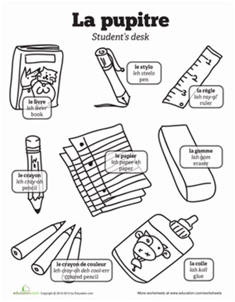 coloring pages with french words french words school language french words and coloring