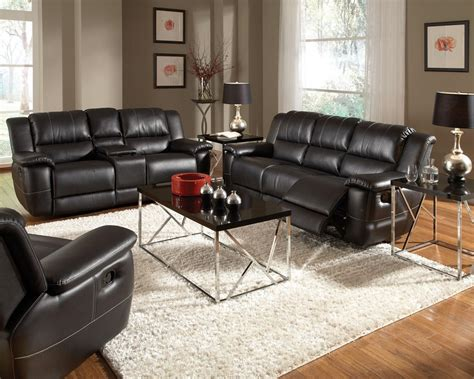 reclining couch set bonded leather reclining sofa set newport beach black