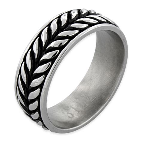 Leaf Pattern Eternity Ring | stainless steel laurel leaf eternity pattern band ring