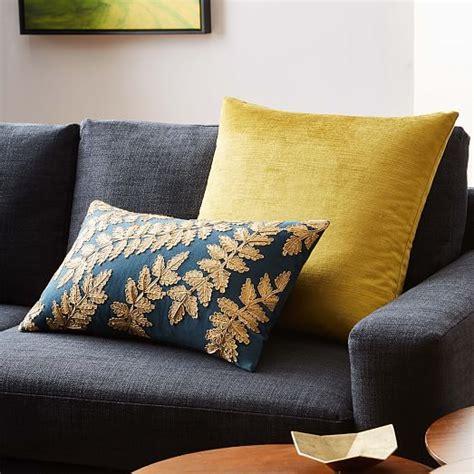 west elm pillows metallic laurel leaves pillow cover regal blue west elm