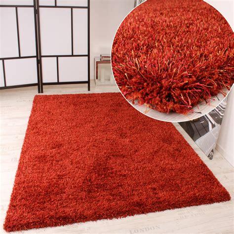 teppiche terracotta shaggy teppich hochflor langflor leicht meliert in