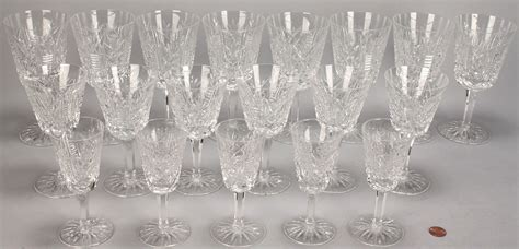 Wine Goblets by Lot 339 Waterford Crystal Stemware Clare Pattern 19 Pcs