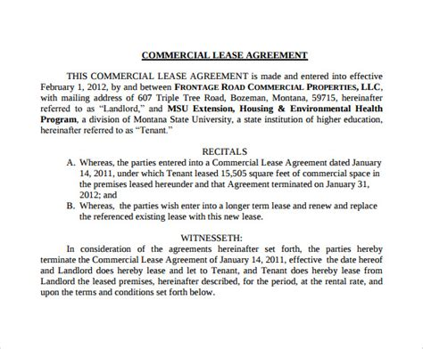 Downloadable Lease Agreement Template sample commercial lease agreement 9 example format