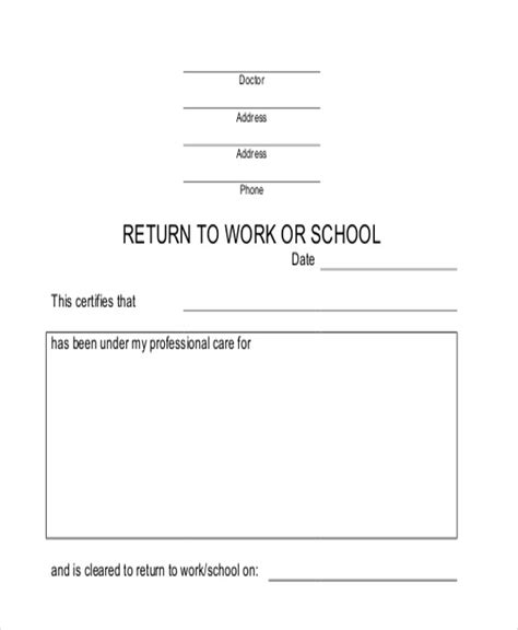 return to work notice template return to work doctors note template template
