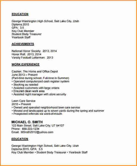 Sle High School Resume Pdf 11 High School Resume Exles Pdf Invoice Template