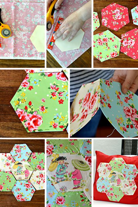 Patchwork Applique - gorgeous chinoise applique hexagon patchwork cushion