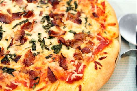 table bacon pizza cheese pizza with bacon basil table for two 174 by julie
