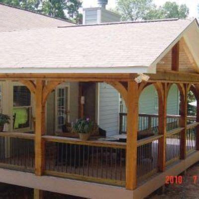 gabled roof open porch  timbertech twin finish cedar