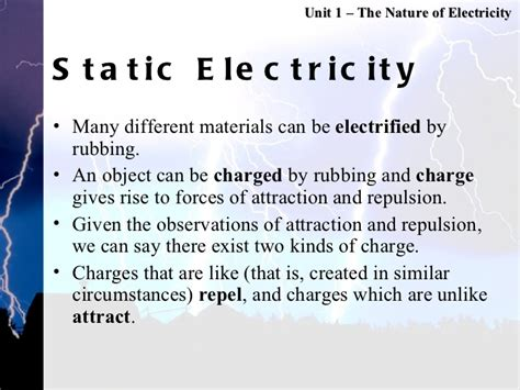 the study of electricity and electrical circuits unit 1 static electricity