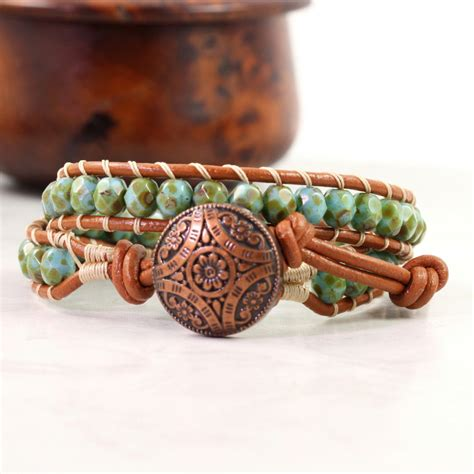 bohemian jewelry boho leather bracelet for bohemian jewelry green wrap