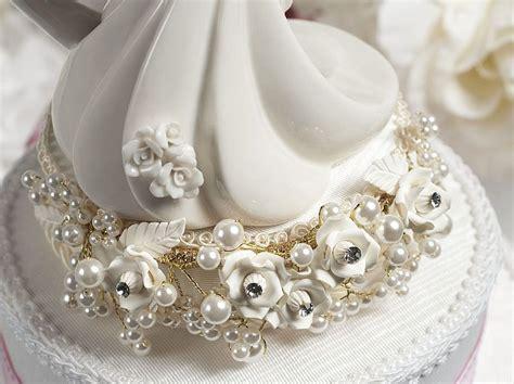 vintage rose pearl  heart wedding cake topper wedding