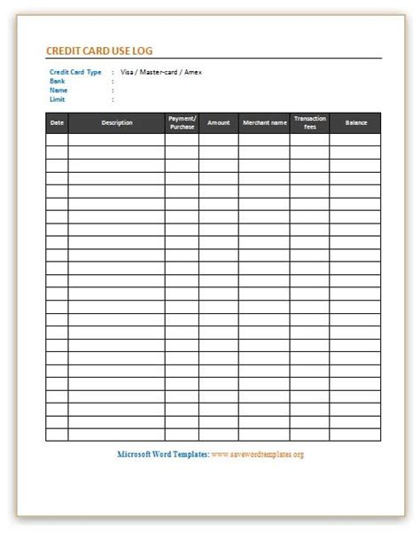 credit card record keeping template invoice log template free printable invoice