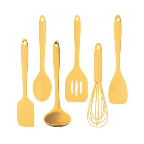 Kitchencraft Silicone Cooking Utensil Set Pastel Yellow Silicone Kitchen Utensils Set