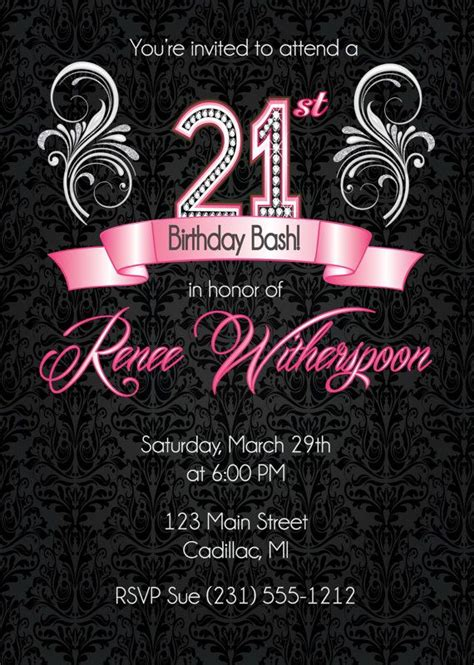 1000 Ideas About 21st Birthday Invitations On Pinterest 21st Invitations Birthday 21st Birthday Card Templates Free