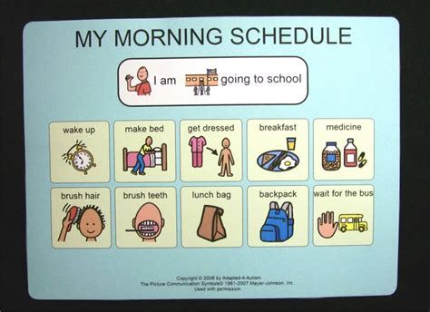 printable daily schedule for autistic child school morning schedule picture card pecs autism daily