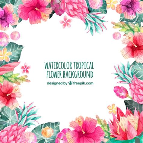 free vector watercolor flowers background of tropical watercolor flowers vector free