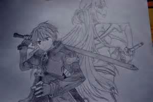 Online Drawing Sword Art Online Kirito And Asuna Drawing By Shokoramomo