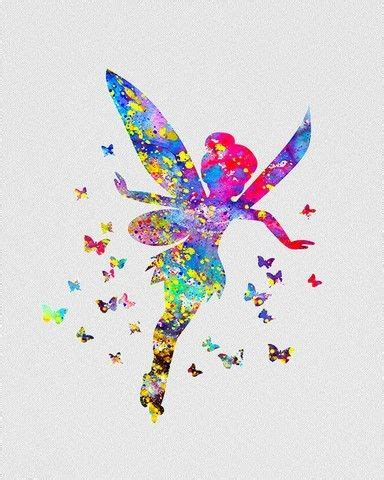 watercolor tattoo fairy bright rainbow watercolor flying design